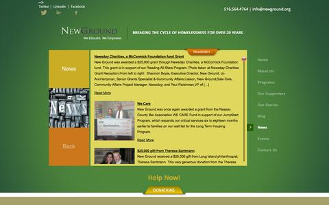 Screenshot of Press Page newground.org - News | New Ground - captured Oct. 7, 2014