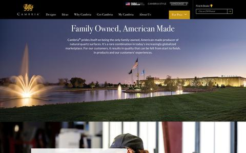 Screenshot of About Page cambriausa.com - About Us - Cambria® Natural Stone Surfaces - Cambria® Natural Stone Surfaces - captured Dec. 12, 2018