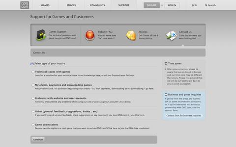 Screenshot of Contact Page gog.com - Contact Us - GOG.com - captured Sept. 19, 2014