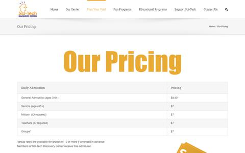 Screenshot of Pricing Page mindstretchingfun.org - Our Pricing – Sci-Tech Discovery Center - captured Oct. 2, 2018