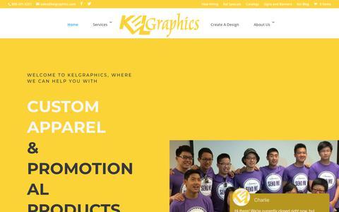 Screenshot of Home Page kelgraphics.com - Kelgraphics - Custom Apparel & Promotional Products - captured Sept. 20, 2018