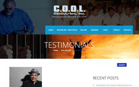 Screenshot of Testimonials Page coolministries.net - Testimonials  |  COOL Ministries, Inc. - captured Sept. 25, 2018