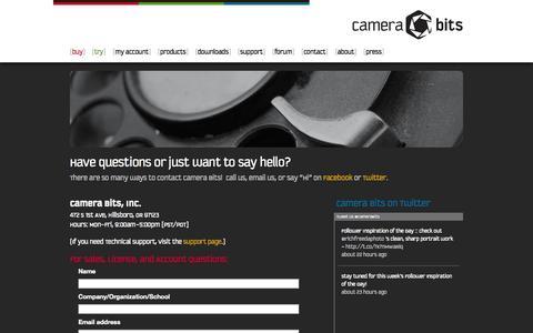 Screenshot of Contact Page camerabits.com - Contact | Camera Bits, Inc. - captured Sept. 19, 2014