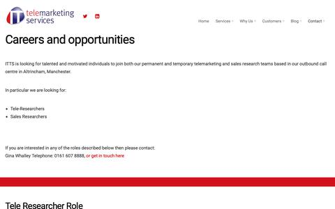Screenshot of Jobs Page itts.uk.com - Careers – ITTS – IT Telemarketing Services - captured Oct. 11, 2018