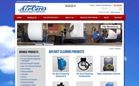 Screenshot of Products Page air-care.com - Air Duct Cleaning Products by Air-Care - captured Sept. 30, 2014