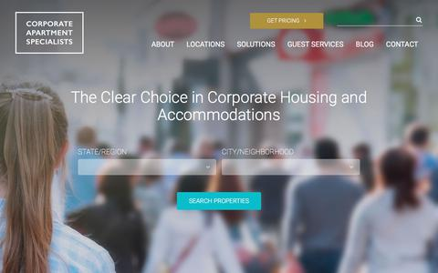 Screenshot of Home Page corporateapartments.com - Corporate Housing | Executive Apartments. DC, Virginia, or Maryland - captured Aug. 30, 2017