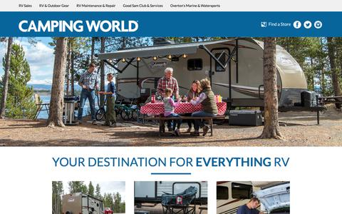 Screenshot of Home Page campingworld.com - RV Supplies, RV Accessories & RV Parts for Motorhomes, Travel Trailers - Camping World - captured Feb. 3, 2018