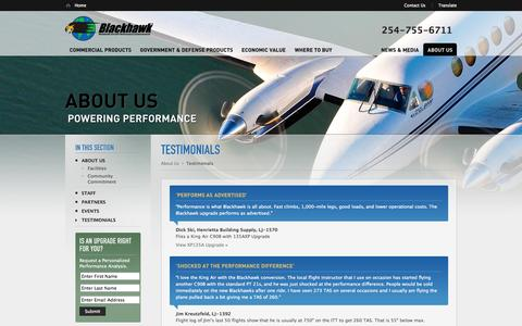 Screenshot of Testimonials Page blackhawk.aero - Testimonials  |  Blackhawk Modifications, Inc. - captured Oct. 5, 2014