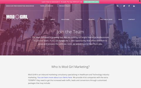 Screenshot of Jobs Page modgirlmarketing.com - Inbound Marketing Careers | Mod Girl Marketing - captured May 24, 2018