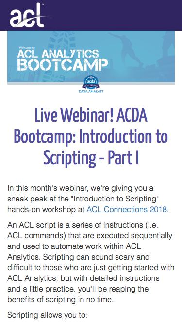 Screenshot of Landing Page  acl.com - ACDA Bootcamp: Introduction to Scripting - Part I