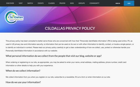 Screenshot of Privacy Page csldallas.org - CSLDallas Privacy Policy | CSLDallas - captured Sept. 27, 2018