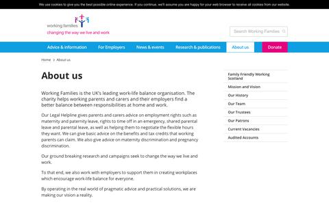 Screenshot of About Page workingfamilies.org.uk - Working Families     About us - captured June 19, 2017