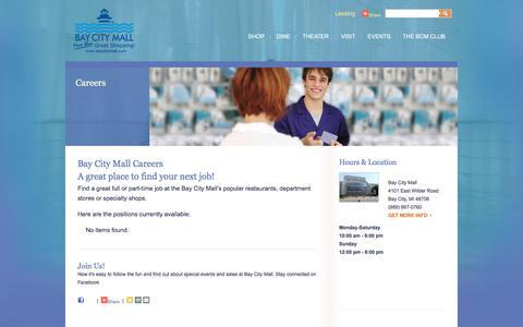 Screenshot of Jobs Page baycitymall.com - Bay City Mall Careers - captured May 21, 2016