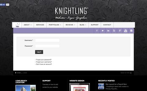 Screenshot of Login Page knightling.com - Login - Knightling - captured Oct. 6, 2014