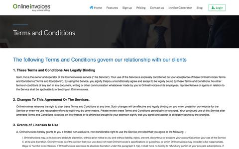 Screenshot of Terms Page onlineinvoices.com - Terms and Conditions - Online Invoices - captured Aug. 12, 2016