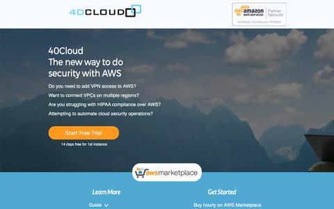 Screenshot of Landing Page 40cloud.com - 40Cloud Network Firewall AWS Marketplace - captured April 17, 2017