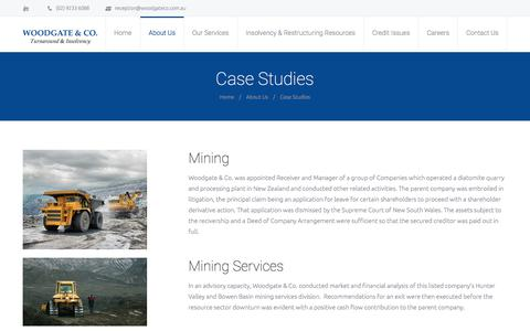 Screenshot of Case Studies Page woodgateco.com.au - Case Studies Woodgate & Co - captured July 13, 2018