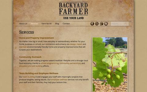 Screenshot of Services Page backyardfarmer.us - Services | Backyard FarmerBackyard Farmer - captured Oct. 5, 2014