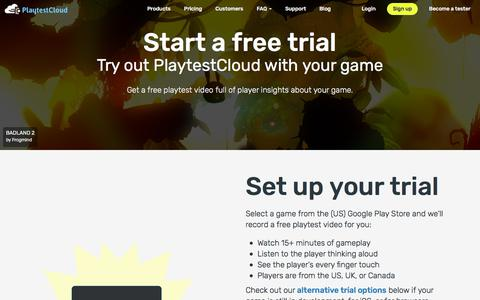 Screenshot of Trial Page playtestcloud.com - Start a free trial - PlaytestCloud - captured July 13, 2018