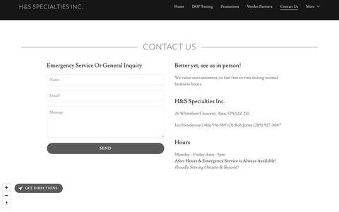 Screenshot of Contact Page hsspecialties.com - Contact Us   H&S Specialties Inc. - captured Sept. 25, 2018