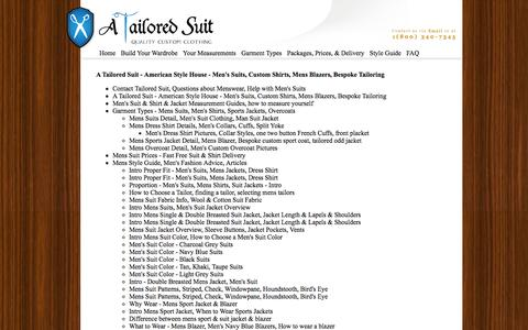 Screenshot of Site Map Page atailoredsuit.com - A Tailored Suit Site Map - American Style House - captured Sept. 19, 2014