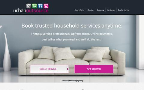 Screenshot of Home Page urbanoutsource.com.au - Trusted Cleaning Services, Gardening Services & Handyman Services - captured Oct. 9, 2014