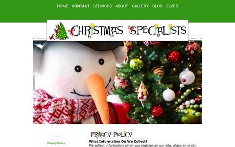 Screenshot of Privacy Page christmasspecialists.com - Your Information is Safe With Us - captured Oct. 28, 2014