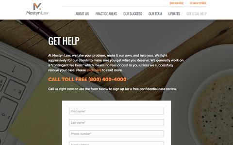 Screenshot of Contact Page mostynlaw.com - Get Help |  Mostyn Law - captured Nov. 4, 2014
