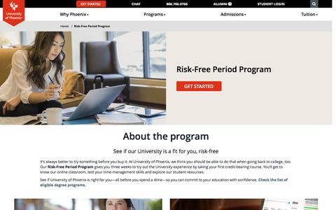 Screenshot of phoenix.edu - Risk-Free Period Program - University of Phoenix - captured April 1, 2017