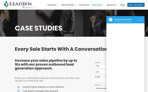 Screenshot of Case Studies Page leadjen.com - Case Studies - LeadJen - Outsourced SDR Services - captured Nov. 8, 2019