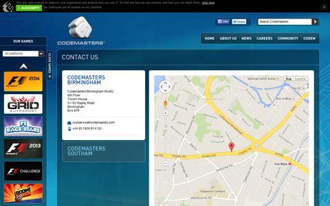 Screenshot of Contact Page codemasters.com - Codemasters - Codemasters Contact Us - captured Sept. 10, 2014