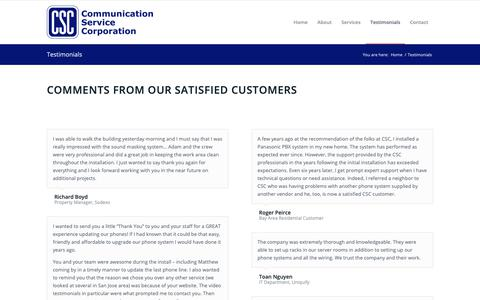 Screenshot of Testimonials Page comserviceco.com - CSC: Customer Testimonials - captured Sept. 29, 2018