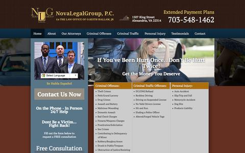 Screenshot of Home Page novalegalgroup.com - Personal Injury Lawyer Alexandria VA - Criminal Defense Attorney - Nova Legal Group, P.C. - captured Oct. 6, 2014