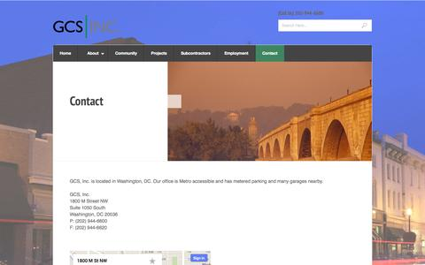 Screenshot of Contact Page gcs-dc.com - Contact « GCS, Inc. - captured Oct. 1, 2014