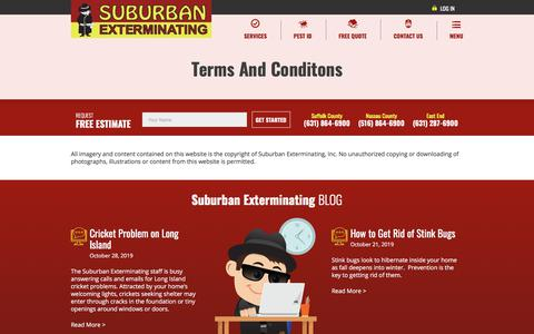 Screenshot of Terms Page suburbanexterminating.com - Terms & Conditions - captured Nov. 4, 2019