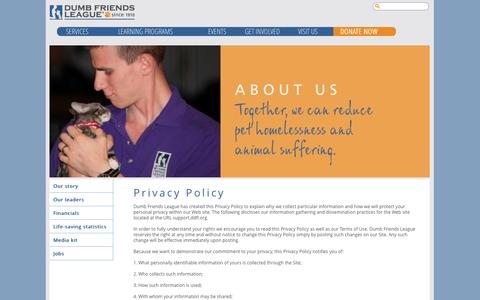 Screenshot of Privacy Page ddfl.org - Privacy Policy | Dumb Friends League - captured Sept. 22, 2014