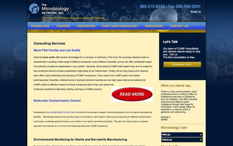 Screenshot of Services Page microbiologynetwork.com - Microbiology Network - Consulting Services   The Microbiology Network: Dedicated to the improvement of regulatory science and compliance - captured Feb. 13, 2016