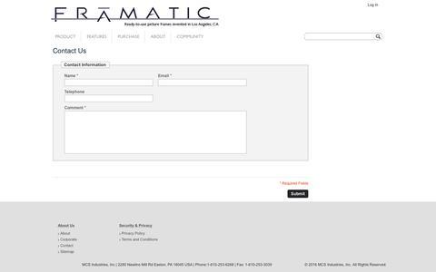 Screenshot of Contact Page mcsframes.com - Contact Us - captured Jan. 17, 2017