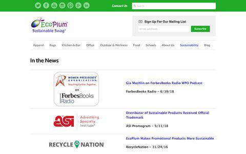 Screenshot of Press Page ecoplum.com - In the News – EcoPlum Business Gifts - captured Nov. 10, 2018