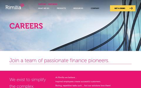 Screenshot of Jobs Page rimilia.com - Careers | Rimilia - captured Nov. 17, 2019