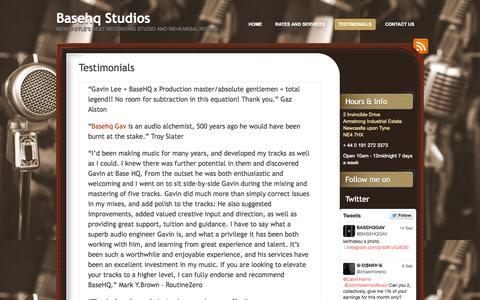 Screenshot of Testimonials Page basehq.com - Testimonials | Basehq Studios - captured Oct. 3, 2014