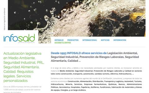 Screenshot of Home Page infosald.com - Legislación ambiental. Legislación ambiental 2018 en España - captured Sept. 14, 2018