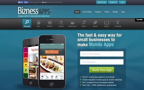 Screenshot of Home Page biznessapps.com - Bizness Apps - App Maker For Small Businesses - captured Sept. 12, 2014