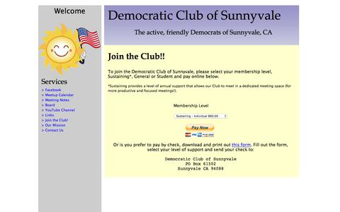 Screenshot of Signup Page sunnyvaledems.org - Democratic Club of Sunnyvale - captured Feb. 9, 2016