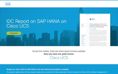 Screenshot of Landing Page cisco.com - IDC Report on SAP HANA on Cisco UCS - captured April 20, 2016