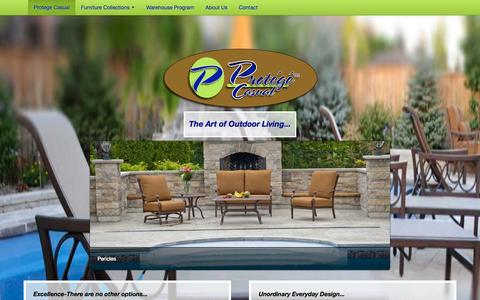 Screenshot of Home Page protegecasual.com - casual patio  furniture,cushion furniture, sling furniture, Extruded aluminum furniture, cast aluminum furniture, resin weave wicker furniture  at Protege Casual - captured Sept. 30, 2014