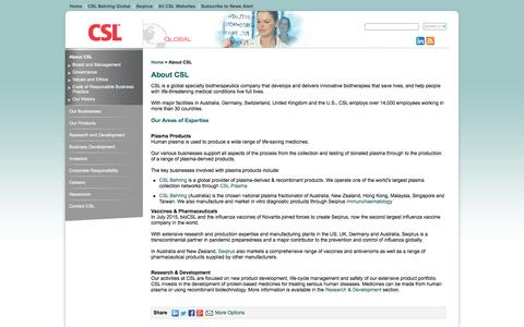 Screenshot of About Page csl.com.au - CSL Ltd is a leader in plasma protein biotherapeutics - captured Feb. 29, 2016