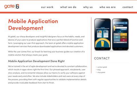Screenshot of Services Page gate6.com - Mobile Application Development Services | Gate6 - captured April 20, 2017