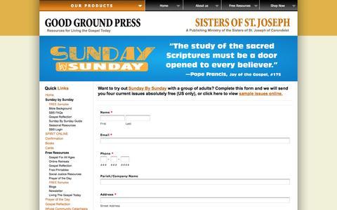 Screenshot of Signup Page goodgroundpress.com - FREE Samples of Sunday By Sunday | GoodGroundPress.com - captured Jan. 31, 2016