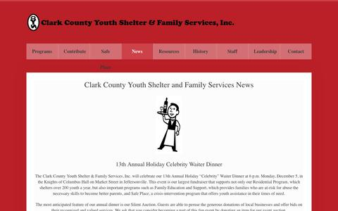 Screenshot of Press Page ccysfs.org - Clark County Youth Shelter and Family Service News - captured Nov. 7, 2016